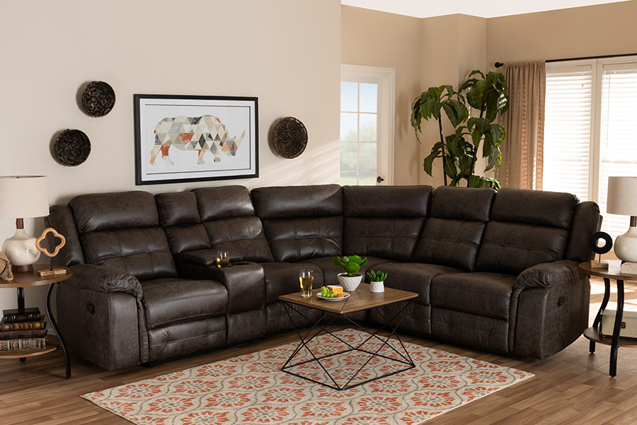Vesa Grey Leather Like Fabric 6-pc Sectional Recliner Sofa with 2 Reclining Seats | Baxton Studio