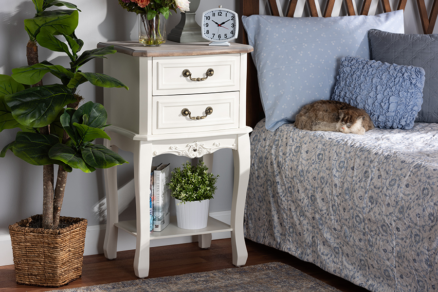 Amalie Antique White Oak 2 Drawer Wood Nightstand | Baxton Studio