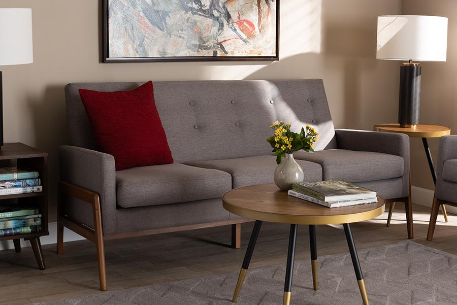 Perris Light Grey Fabric Walnut Wood Sofa | Baxton Studio