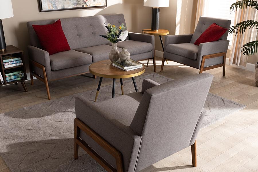Perris Light Grey Fabric Walnut Wood 3-pc Living Room Set   Baxton Studio