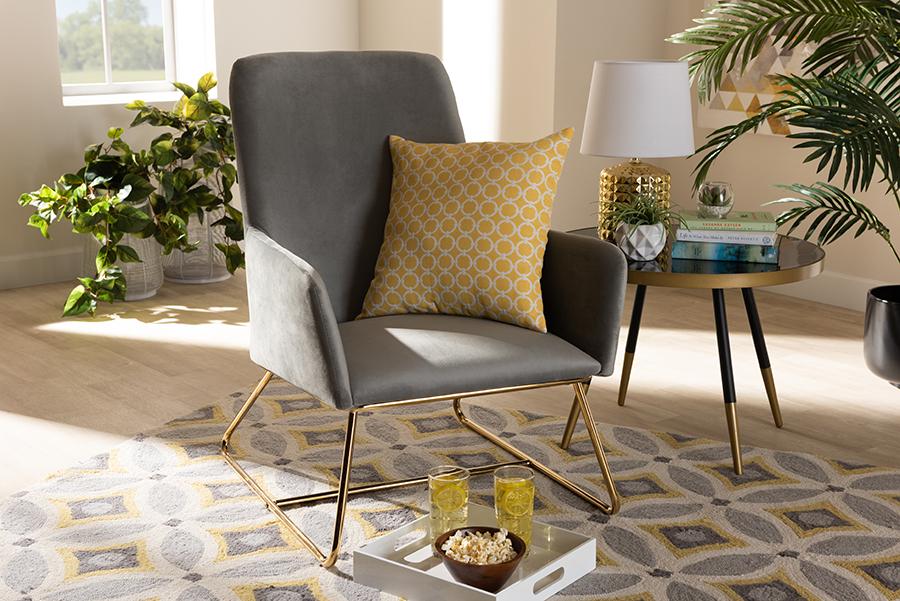 Sennet Grey Velvet Fabric Gold Armchair | Baxton Studio