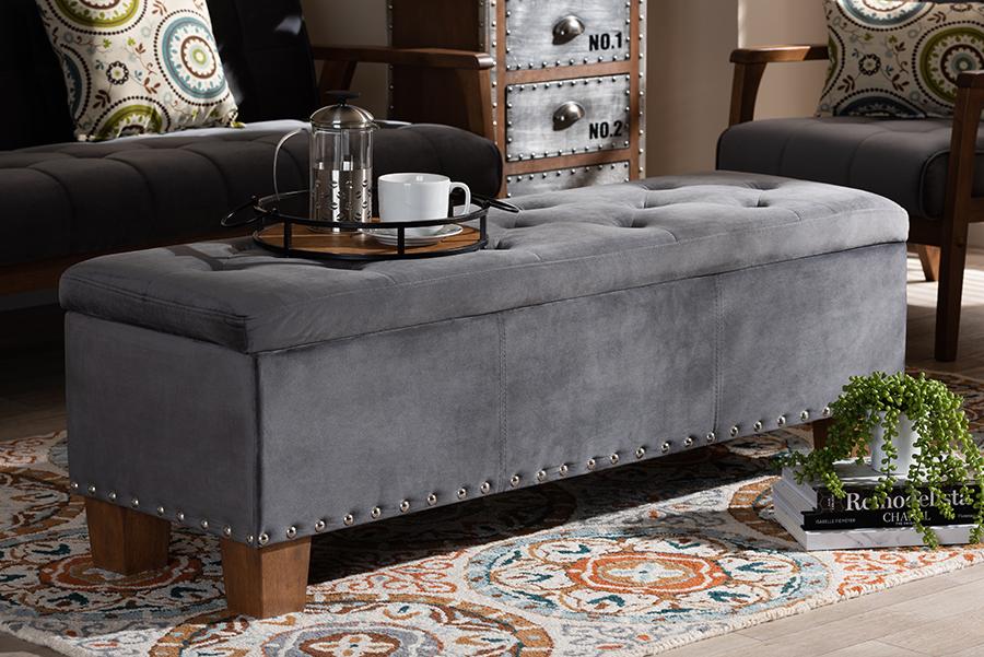 Hannah Grey Velvet Fabric Tufted Storage Ottoman Bench | Baxton Studio