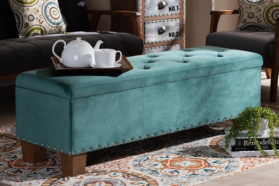 Hannah Teal Blue Velvet Fabric Tufted Storage Ottoman Bench | Baxton Studio