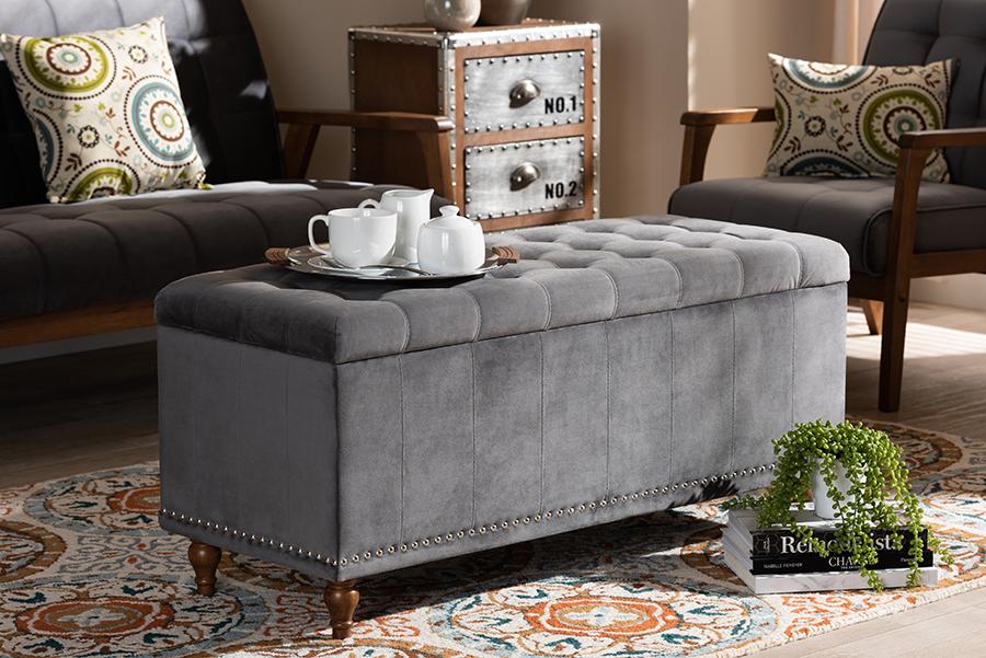 Kaylee Grey Velvet Fabric Tufted Storage Ottoman Bench | Baxton Studio