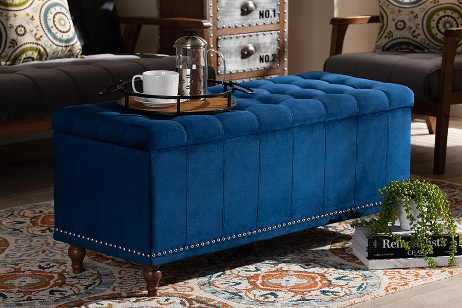 Kaylee Navy Blue Velvet Fabric Tufted Storage Ottoman Bench | Baxton Studio