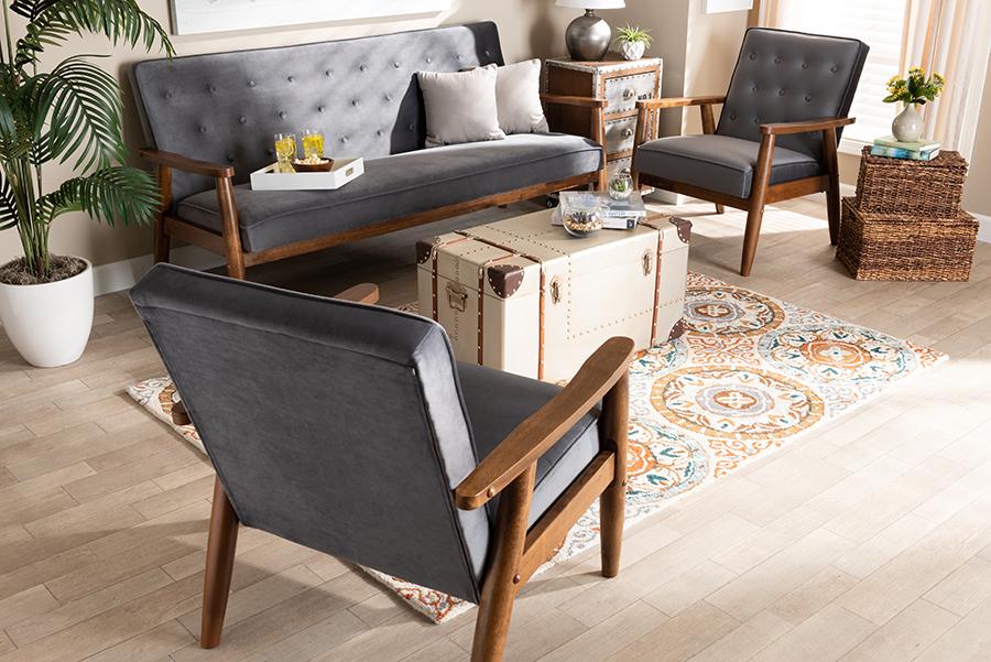 Sorrento Grey Velvet Fabric Walnut 3-pc Wooden Living Room Set   Baxton Studio
