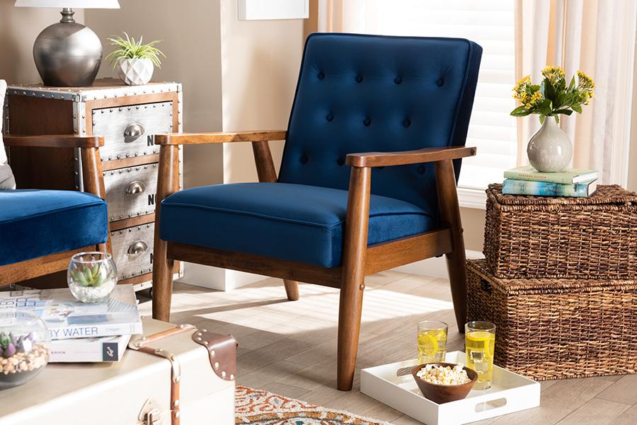 Sorrento Navy Blue Velvet Fabric Walnut Wooden Lounge Chair | Baxton Studio