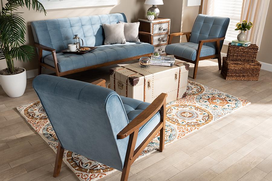Asta Light Blue Velvet Fabric Walnut Wood 3-pc Living Room Set   Baxton Studio
