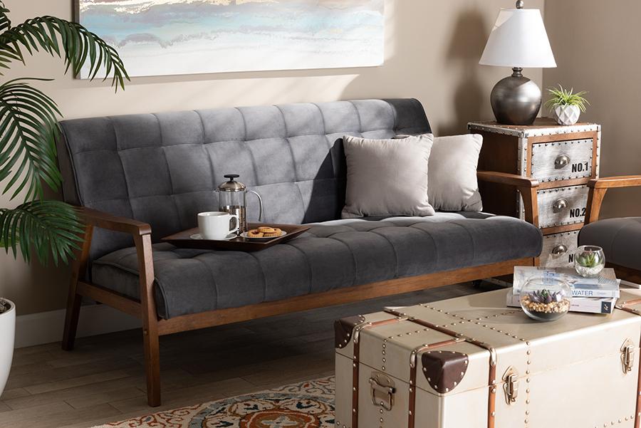 Asta Grey Velvet Fabric Walnut Wood Sofa | Baxton Studio