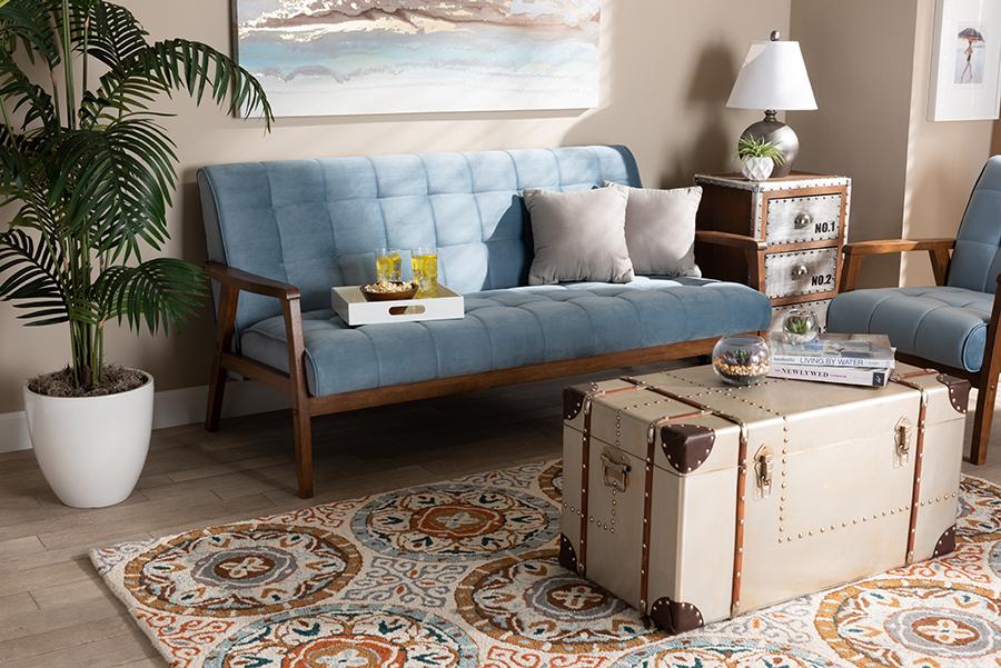 Asta Light Blue Velvet Fabric Walnut Wood Sofa | Baxton Studio
