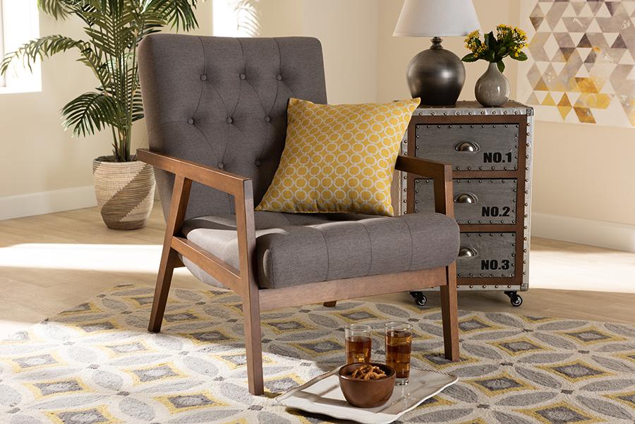 Naeva Grey Fabric Walnut Wood Armchair | Baxton Studio