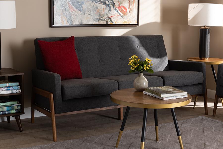 Perris Dark Grey Fabric Walnut Wood Sofa | Baxton Studio