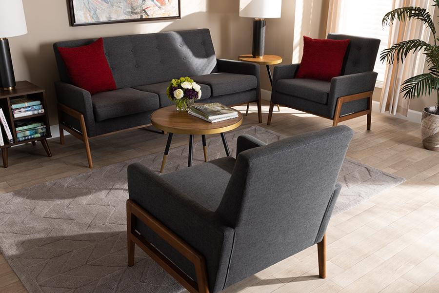 Perris Dark Grey Fabric Walnut Wood 3-pc Living Room Set   Baxton Studio