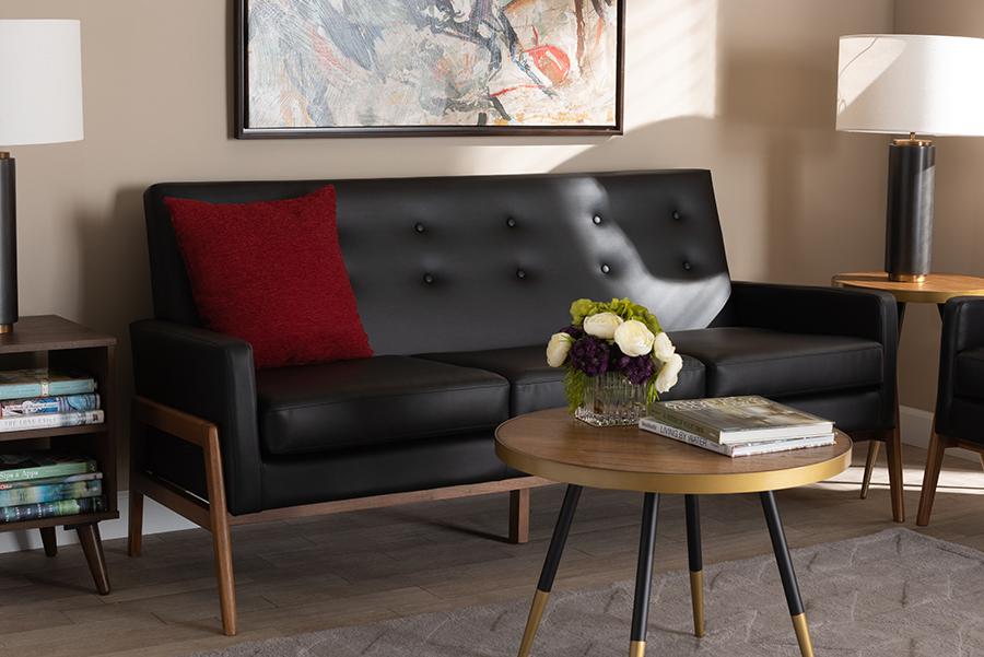 Perris Black Faux Leather Walnut Wood Sofa | Baxton Studio