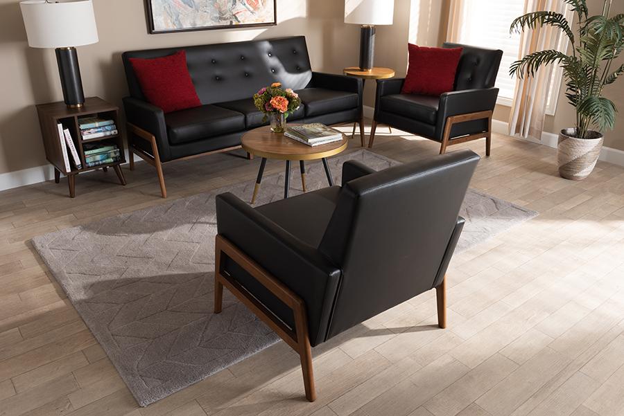 Perris Black Faux Leather Walnut Wood 3-pc Living Room Set   Baxton Studio