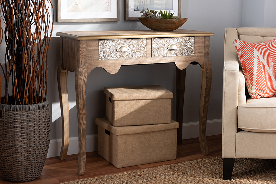 Clarice Natural Brown Wood Metal 2 Drawer Console Table   Baxton Studio