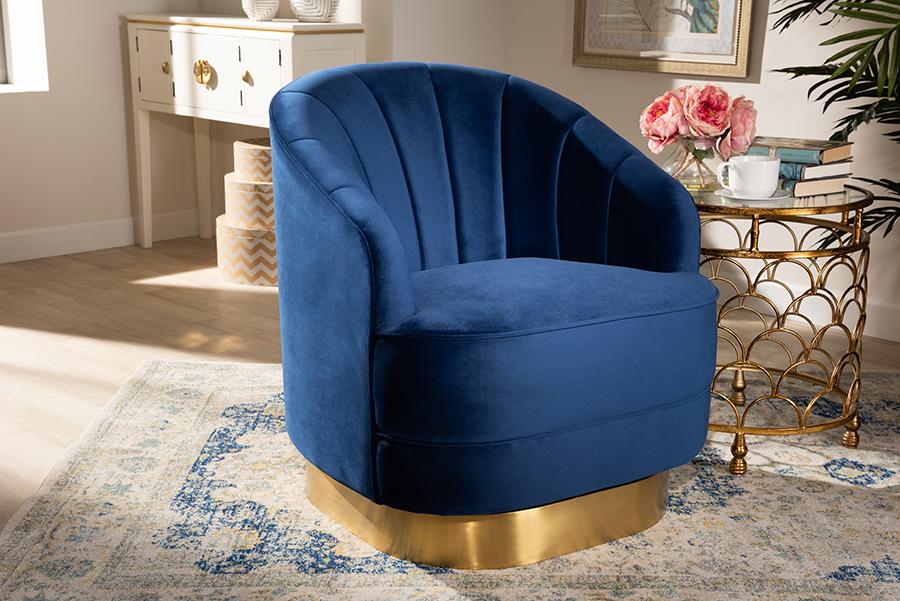 Fiore Royal Blue Velvet Fabric Gold Swivel Accent Chair | Baxton Studio