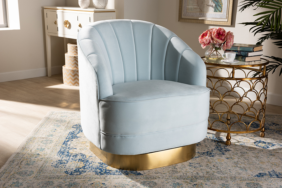 Fiore Light Blue Velvet Fabric Gold Swivel Accent Chair | Baxton Studio