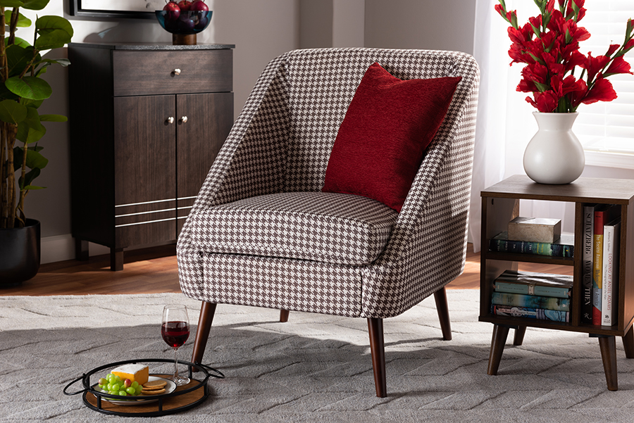 Gia Brown White Houndstooth Accent Chair | Baxton Studio