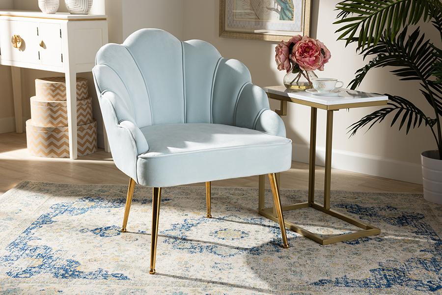 Cinzia Light Blue Velvet Fabric Gold Seashell Shaped Accent Chair | Baxton Studio
