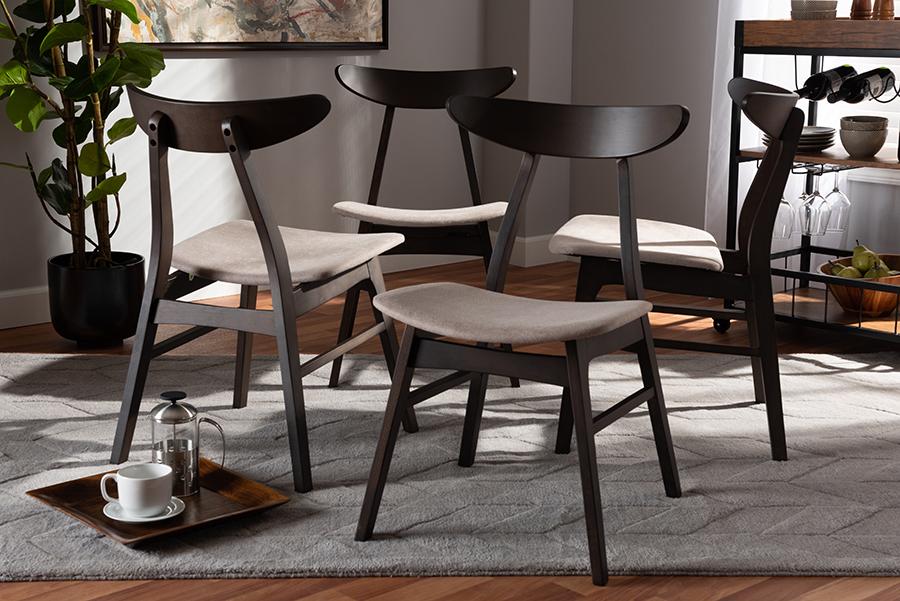 Britte Beige Fabric Dark Oak Brown 4-pc Wood Dining Chair Set Set | Baxton Studio