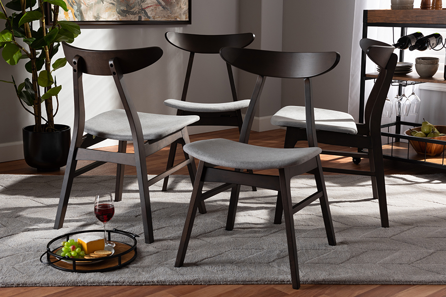 Britte Light Grey Fabric Dark Oak Brown 4-pc Wood Dining Chair Set Set | Baxton Studio