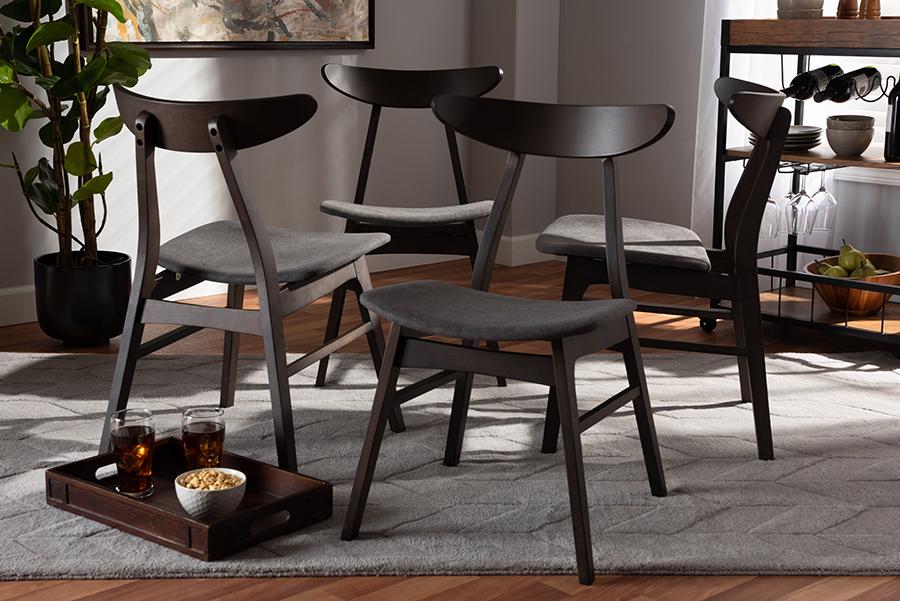 Britte Dark Grey Fabric Dark Oak Brown 4-pc Wood Dining Chair Set Set | Baxton Studio