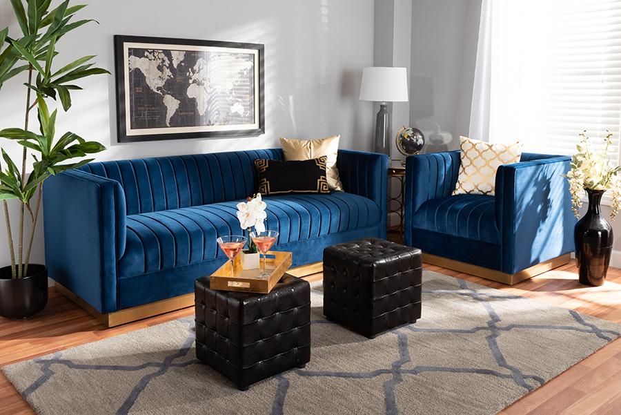 Aveline Navy Blue Velvet Fabric Gold 2-pc Living Room Set   Baxton Studio