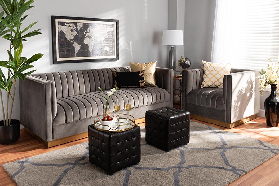 Aveline Grey Velvet Fabric Gold 2-pc Living Room Set   Baxton Studio