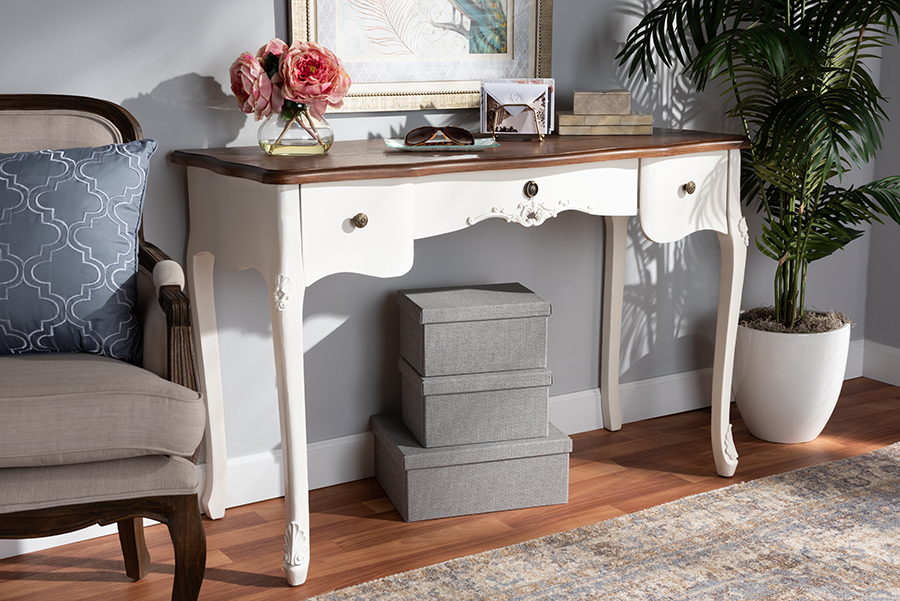 Sophie White Brown Large 3 Drawer Wood Console Table   Baxton Studio