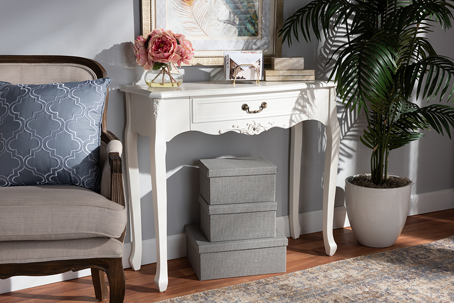 Gabrielle White 1 Drawer Wood Console Table   Baxton Studio