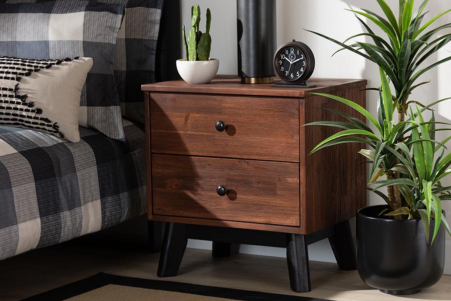 Calla Brown Black Oak 2 Drawer Wood Nightstand | Baxton Studio