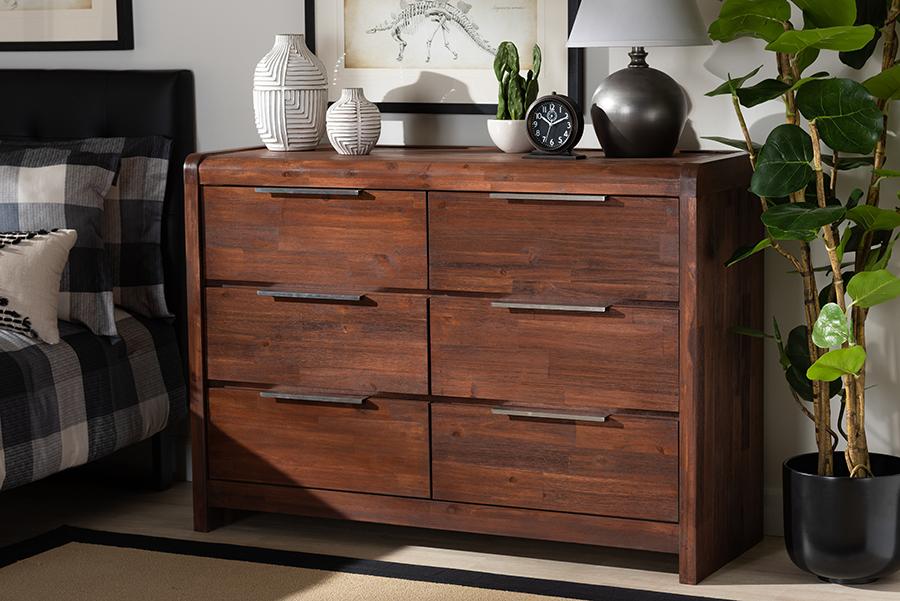 Torres Brown Oak 6 Drawer Wood Dresser | Baxton Studio