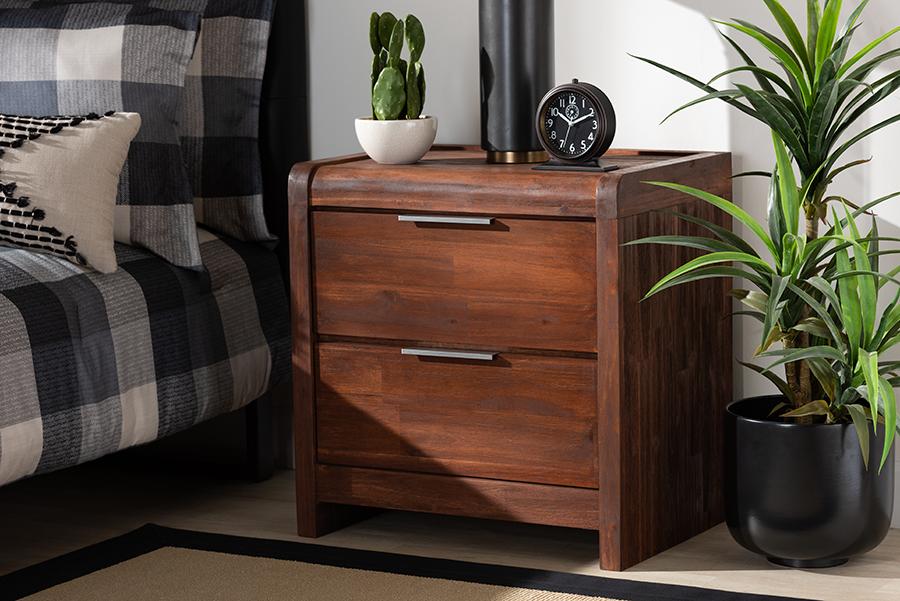 Torres Brown Oak 2 Drawer Wood Nightstand | Baxton Studio