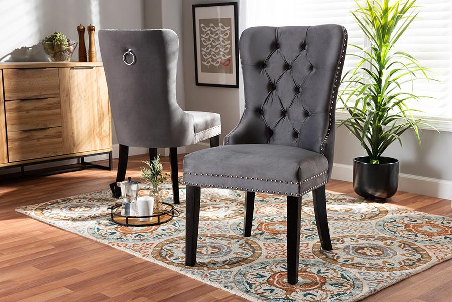 Remy Grey Velvet Fabric Espresso 2-pc Wood Dining Chair Set Set | Baxton Studio