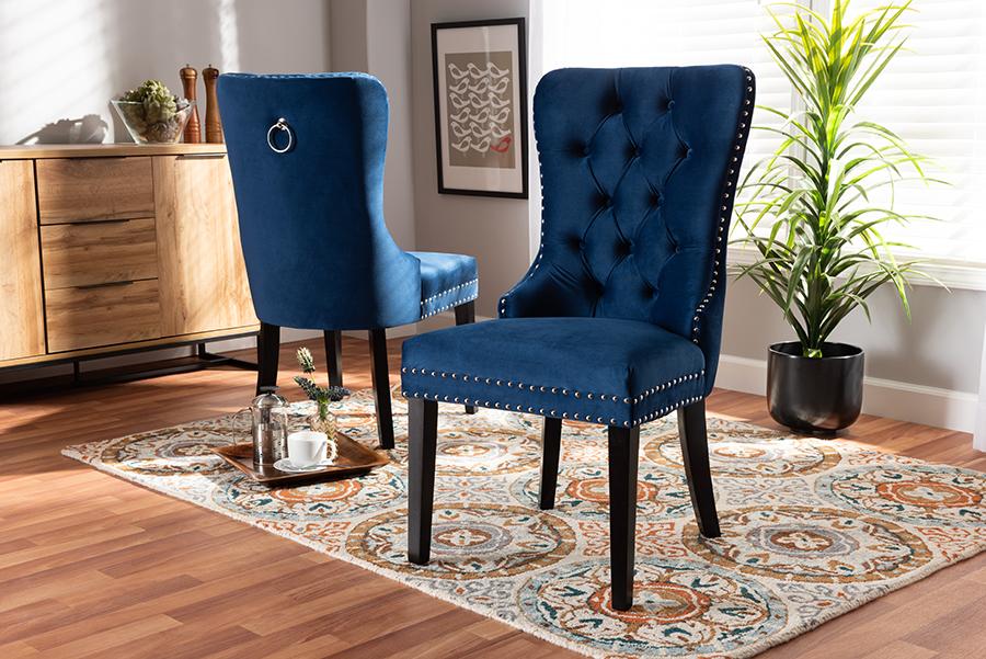 Remy Navy Blue Velvet Fabric Espresso 2-pc Wood Dining Chair Set Set | Baxton Studio