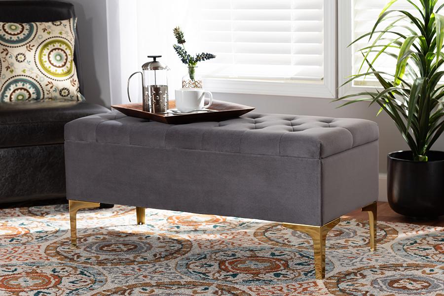 Valere Grey Velvet Fabric Gold Tufted Storage Ottoman | Baxton Studio
