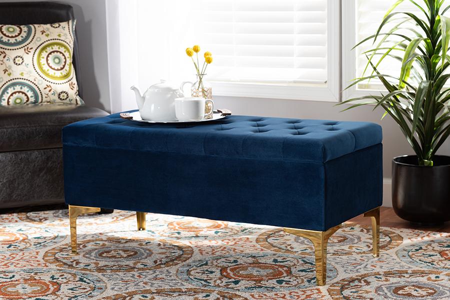 Valere Navy Blue Velvet Fabric Gold Tufted Storage Ottoman | Baxton Studio