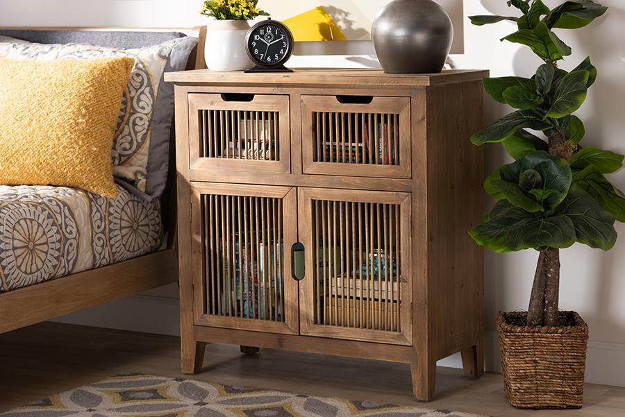 Clement Medium Oak 2 Door 2 Drawer Wood Spindle Accent Storage Cabinet | Baxton Studio