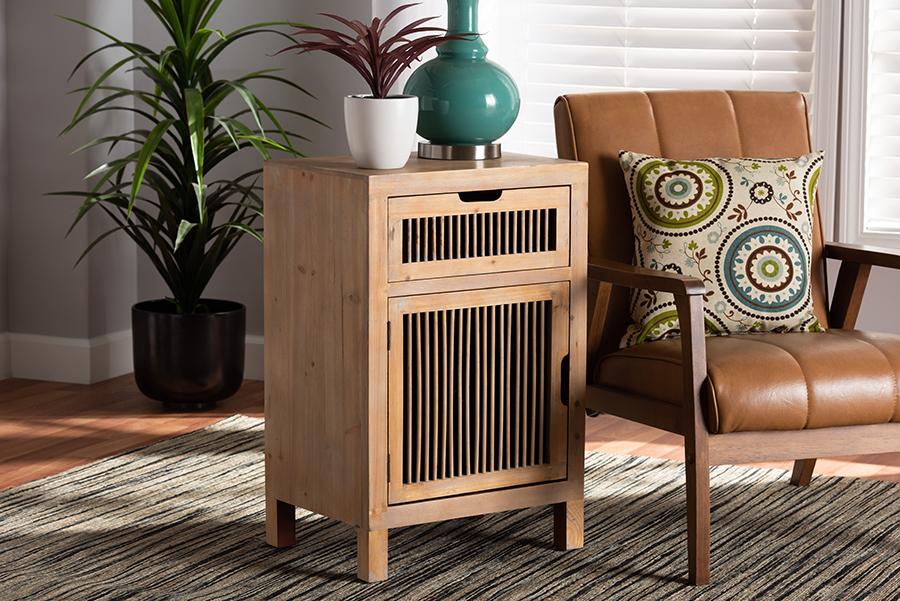 Clement Medium Oak 1 Door 1 Drawer Wood Spindle Nightstand | Baxton Studio