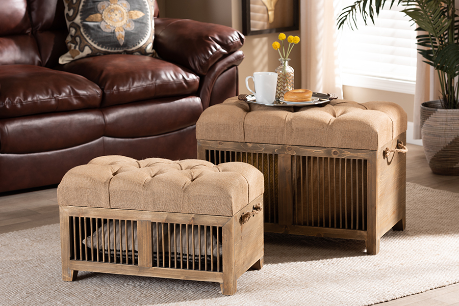 Clement Beige Fabric Medium Oak 2-pc Wood Spindle Storage Trunk Ottoman Set | Baxton Studio