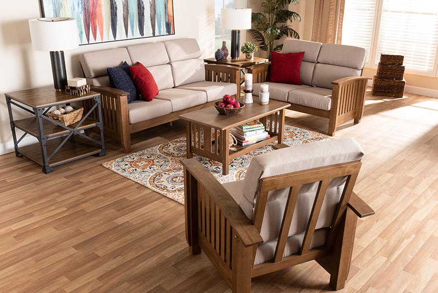 Charlotte Taupe Fabric Walnut Wood 3-pc Living Room Set   Baxton Studio