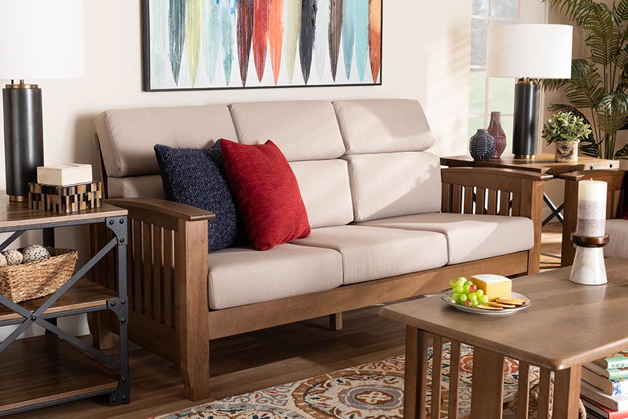 Charlotte Taupe Fabric Walnut Wood 3 Seater Sofa   Baxton Studio