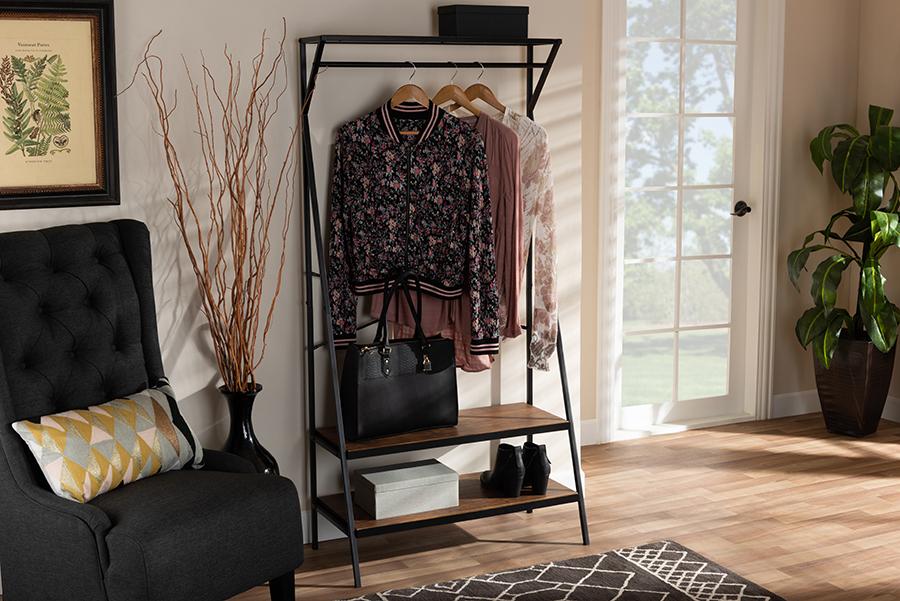 Laima Wood Black Metal Coat Hanger | Baxton Studio