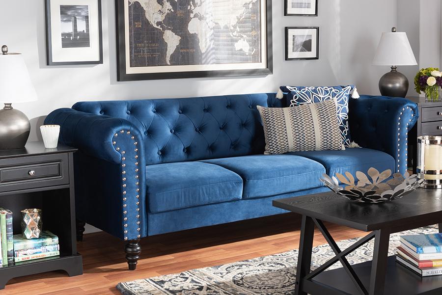 Emma Navy Blue Velvet Fabric Tufted Chesterfield Sofa | Baxton Studio