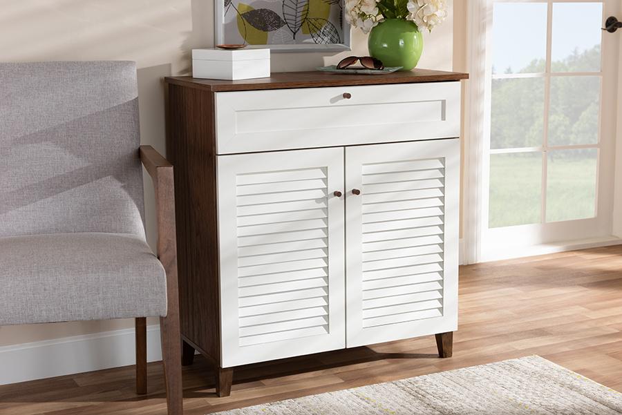 Coolidge White Walnut 4 Shelf Wood Shoe Storage Cabinet with Drawer   Baxton Studio