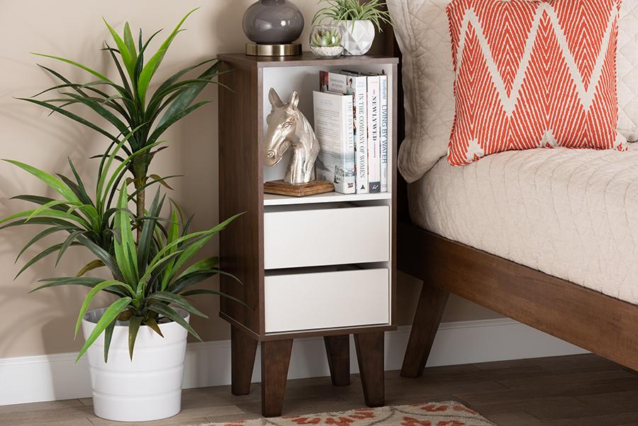 Senja White Walnut Wood 2 Drawer Bookcase | Baxton Studio