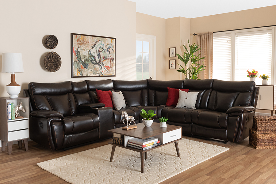 Lewis Dark Brown Faux Leather 6-pc Reclining Sectional Sofa | Baxton Studio