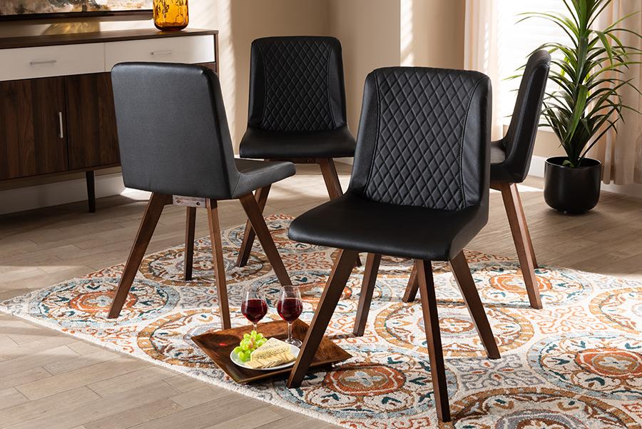 Pernille Black Faux Leather Walnut 4-pc Wood Dining Chair Set Set | Baxton Studio
