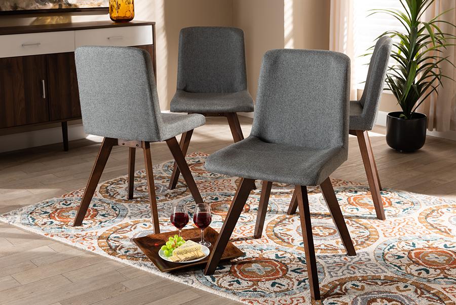 Pernille Grey Fabric Walnut 4-pc Wood Dining Chair Set Set | Baxton Studio